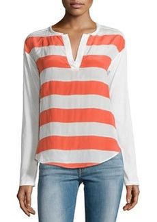 Ella Moss Millie Striped Split-Neck Tee, Coral/Ivory
