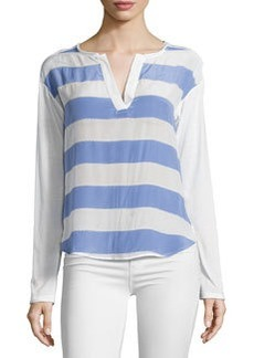 Ella Moss Millie Striped Split-Neck Tee, Periwinkle/Ivory