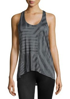 Ella Moss Mixed-Stripe High-Low Tank, Charcoal