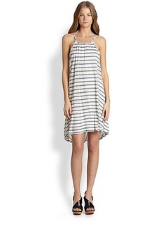 Ella Moss Paneled Striped Trapeze Dress