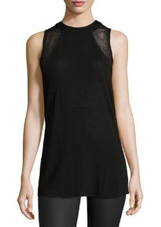 Ella Moss Perforated Sleeveless Tee, Black