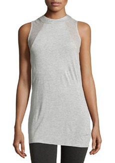 Ella Moss Perforated Sleeveless Tee, Heather Gray
