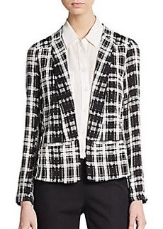 Ella Moss Plaid Open-Front Blazer