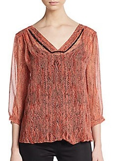 Ella Moss Printed & Beaded Chiffon Blouse