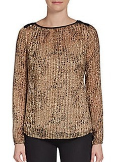 Ella Moss Printed Lurex-Detailed Silk-Chiffon Top