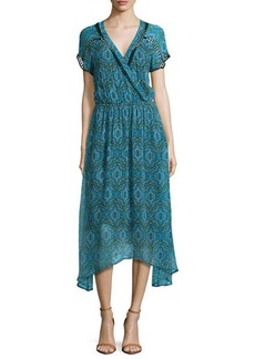 Ella Moss Printed Short-Sleeve Faux-Wrap Maxi Dress