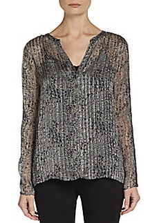 Ella Moss Printed Silk Henley Top