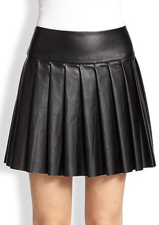 Ella Moss Raquel Pleated Faux Leather Skirt