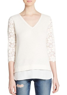 Ella Moss Rib-Knit Lace-Sleeve Top