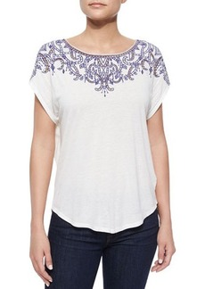 Ella Moss Rica Embroidered-Front Jersey Tee