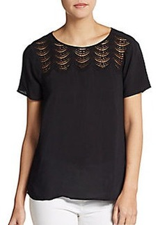 Ella Moss Scalloped Lace Yoke Top