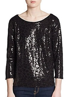 Ella Moss Sequin Three-Quarter Sleeve Top