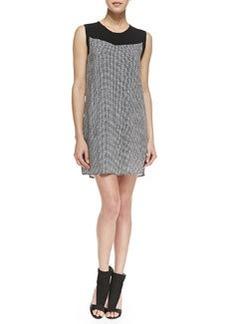 Ella Moss Sleeveless Basketweave Print Shift Dress, Black/White