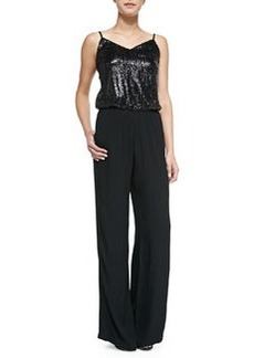 Ella Moss Sleeveless Jumpsuit with Sequined Bodice