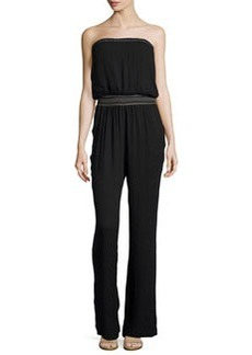 Ella Moss Smocked Strapless Jumpsuit, Black
