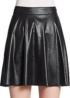 Ella Moss Snake-Embossed Faux Leather Skater Skirt