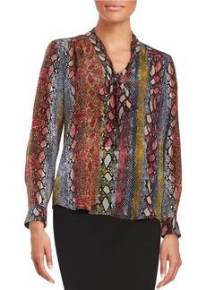 ELLA MOSS Snakeskin Printed Silk Tie Blouse