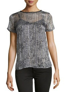 Ella Moss Spotted Shimmer-Striped Blouse, Gray