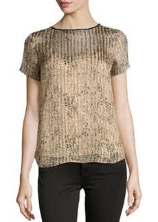 Ella Moss Spotted Shimmer-Striped Blouse, Taupe