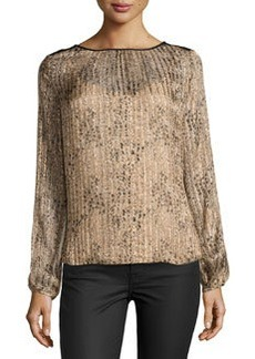 Ella Moss Spotted Shimmer-Striped Silk Blouse, Taupe