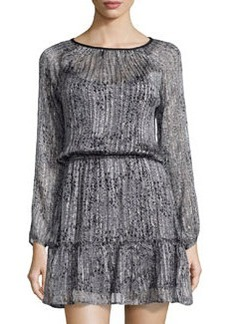 Ella Moss Spotted Silk Shimmer Dress, Gray