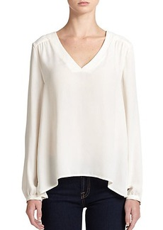 Ella Moss Stella Pleated-Back Trapeze Blouse