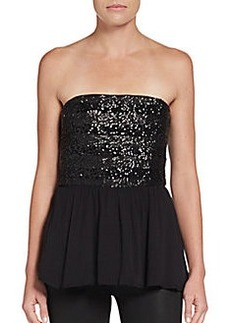 Ella Moss Strapless Sequin Peplum Top
