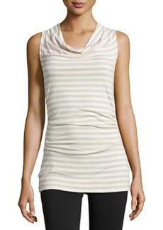 Ella Moss Striped Cowl-Neck Tank, Oat
