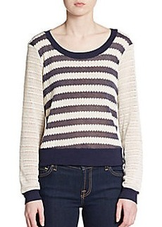Ella Moss Striped Pointelle Top