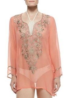 Ella Moss Swim Long-Sleeve Tunic W/ Embroidered Front, Orange