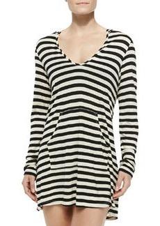 Ella Moss Swim Striped Hooded Long-Sleeve Coverup, Black
