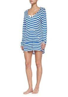 Ella Moss Swim Striped Hooded Long-Sleeve Coverup, Blue