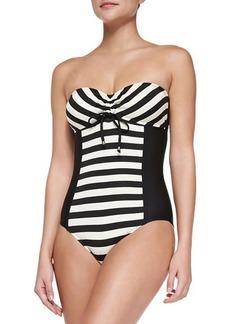 Ella Moss Swim Striped Strapless One-Piece Swimsuit