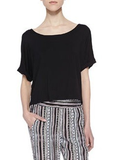 Ella Moss Tali Short-Sleeve Cropped Top, Black