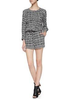 Ella Moss Tempe Combo-Print Jumpsuit W/ Drawstring