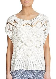 Ella Moss Whitney Open-Knit Cotton & Linen Top