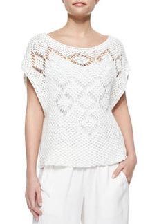Ella Moss Whitney Open-Knit Sweater, White