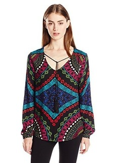Ella moss Women's Aurora Printed Long Sleeve Blouse, Multi, Large