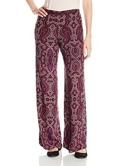 Ella moss Women's Baroque Print Crepe Wide Leg Pant, Rose, X-Small