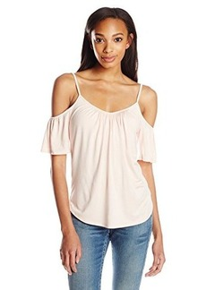 Ella moss Women's Bella Jersey Cold Shoulder Top, Shell Pink, Medium