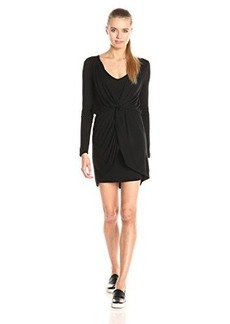 Ella moss Women's Bella Jersey Long Sleeve Twist Front Dress, Black, Medium
