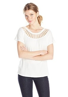 Ella moss Women's Bella Lattice Detail Jersey Tee, White, Small