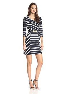 Ella moss Women's Bonnie Striped 3/4 Sleeve Dress, Navy/Natural, Medium