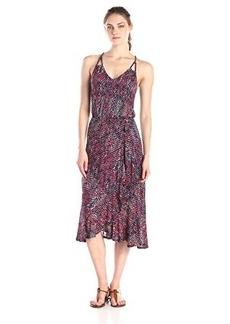 Ella moss Women's Catalina Print Jersey Ruffle Dress, Indigo, Large