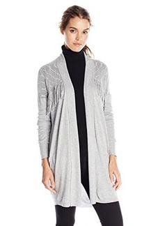 Ella moss Women's Collette Fringe Detail Cardigan Sweater, Heather Grey, Small