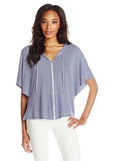 Ella moss Women's Dario Jersey Striped Tee Shirt, Cobalt, Small