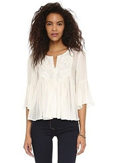 Ella moss Women's Desiree Flock Dot Detail Peasant Blouse, Natural, Large