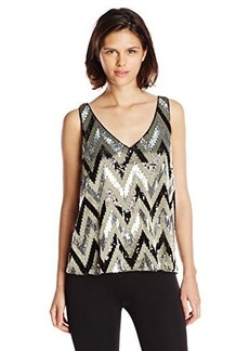 Ella moss Women's Dorian Chevron Sequin Tank, Black, Medium