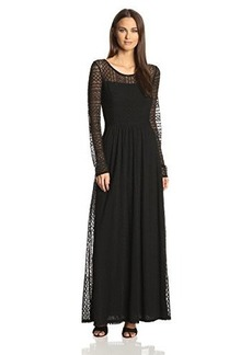 Ella moss Women's Emiline Lace Long Sleeve Evening Gown, Black, Medium