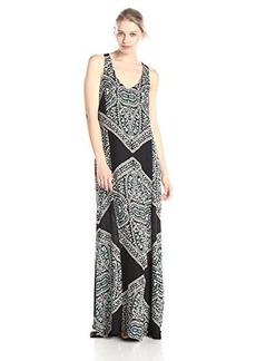 Ella moss Women's Fez Printed Maxi Dress, Black, Large